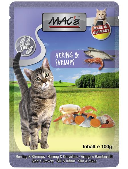MAC'S Katzen-Nassfutter, Hering/Shrimps, 12 x 100 g