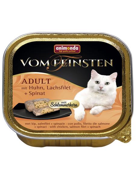 VOM FEINSTEN Katzen-Nassfutter, Huhn/Lachs/Spinat, 100 g