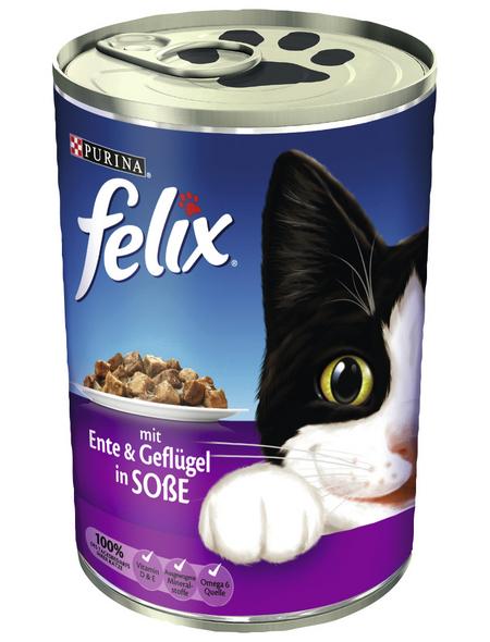 FELIX Katzen Nassfutter »in Soße«, Ente / Geflügel, 24x400 g