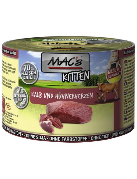 MAC'S Katzen-Nassfutter, Kalb/Geflügelherz, 6 x 200 g