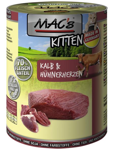MAC'S Katzen-Nassfutter, Kalb/Geflügelherz, 6 x 400 g
