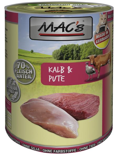 MAC'S Katzen-Nassfutter, Kalb/Pute, 6 x 400 g