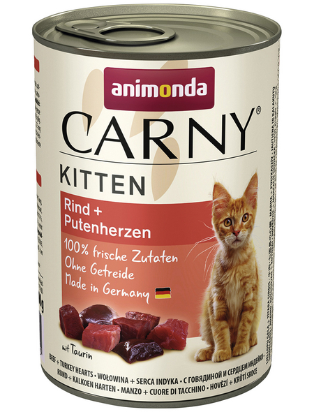CARNY® Katzen-Nassfutter »Kitten«, Rind/Pute, 400 g