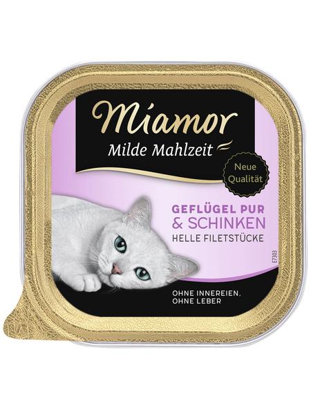 MIAMOR Katzen Nassfutter »Milde Mahlzeit«, Geflügel / Schinken, 16x100 g