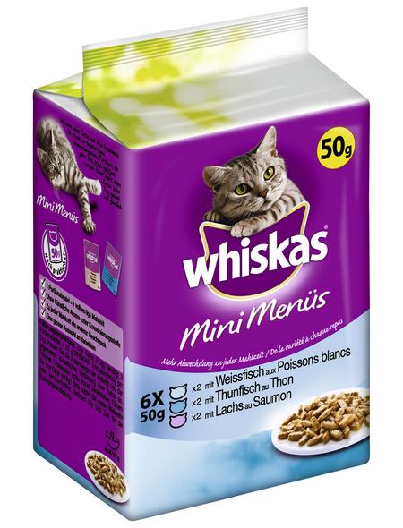 WHISKAS Katzen Nassfutter »Mini Menüs«, Thunfisch / Weißfisch / Lachs, 12x3,6 kg
