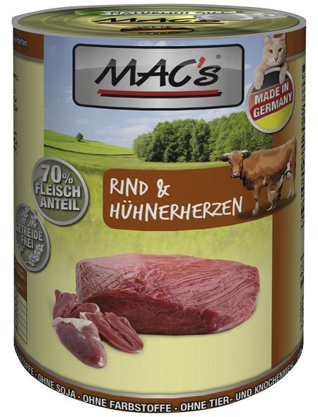 MAC'S Katzen-Nassfutter, Rind/Geflügelherz, 6 x 400 g