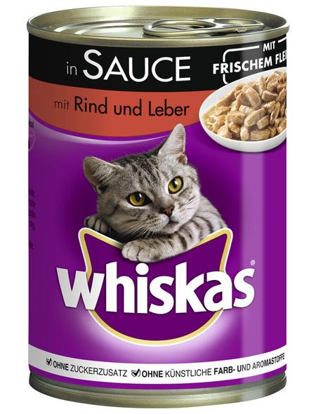WHISKAS Katzen-Nassfutter, Rind/Leber, 400 g