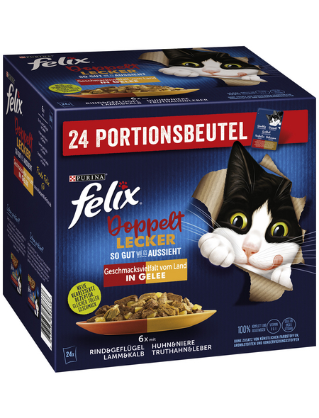FELIX Katzen-Nassfutter »So gut wie es aussieht Doppelt Lecker«, gemischte Vielfalt