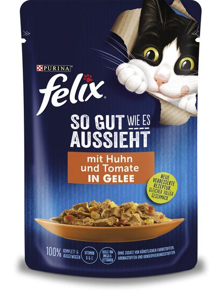 FELIX Katzen Nassfutter »So gut wie es aussieht «, Huhn / Tomate, 24x85 g