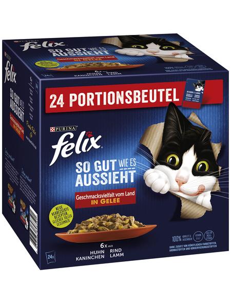 FELIX Katzen-Nassfutter »So gut wie es aussieht«, Rind/Kaninchen/Lamm/Huhn