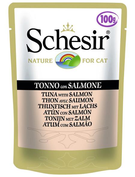 SCHESIR Katzen Nassfutter, Thunfisch / Lachs, 20x100 g