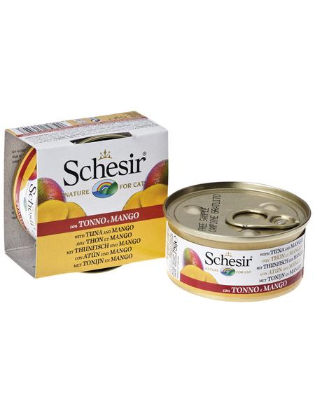 SCHESIR Katzen Nassfutter, Thunfisch / Mango, 24x75 g
