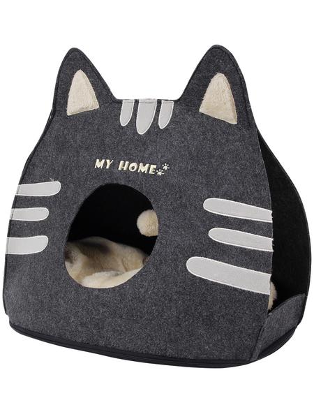 Katzenhaus, grau/schwarz