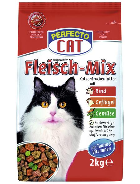 PERFECTO CAT Katzentrockenfutter »Fleisch-Mix«, Rind / Geflügel / Gemüse, 6 x 2 kg