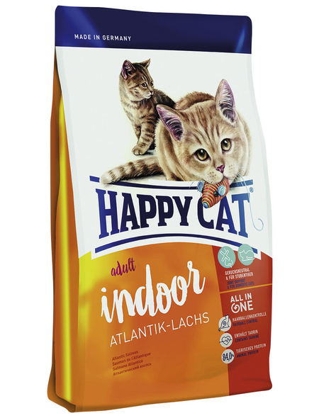 HAPPY CAT Katzentrockenfutter »Indoor«, Lachs, 4x1,4 kg