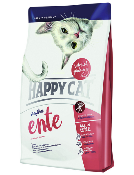 HAPPY CAT Katzentrockenfutter »Sensitive«, Ente, 4x1,4 kg