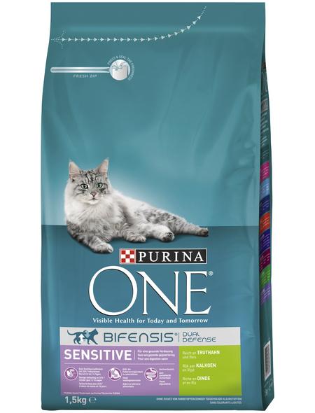 Purina ONE® Katzentrockenfutter »Sensitive«, Truthahn, 1,5 kg