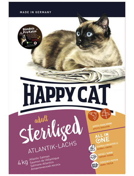 HAPPY CAT Katzentrockenfutter »Sterilized«, Lachs, 4 kg