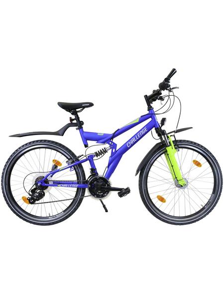 CHALLENGE Kinderfahrrad »Knaben«, 21 Gänge, Kettenschaltung, MTB-Rahmen, Blau-Neongrün-Schwarz
