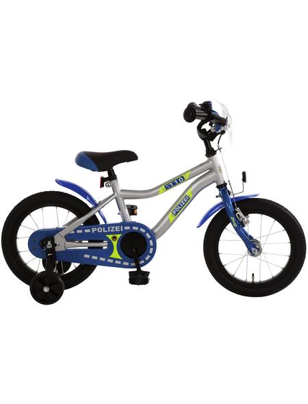 BACHTENKIRCH Kinderfahrrad »Polizei «, 1 Gang, Kuma-Type Rahmen, Blau-Silber-Neongelb