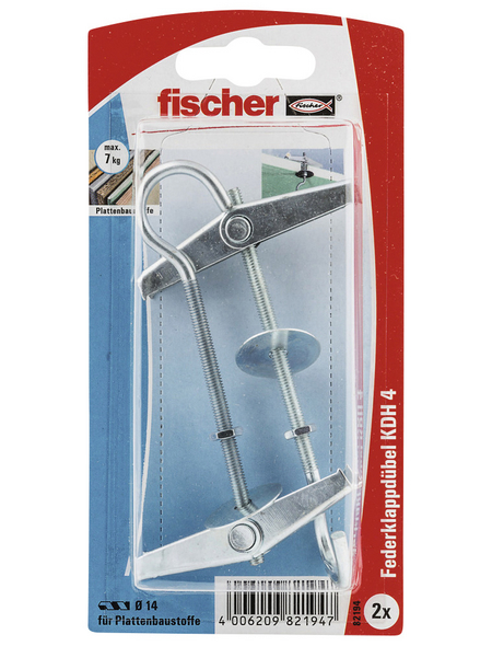 FISCHER Kipp- und Federklappdübel , 2 Stück, 14 mm