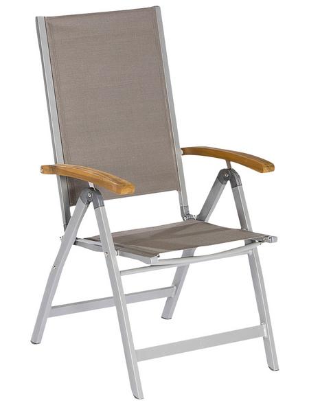 Klappstuhl »Naxos«, BxHxT: 58,5 x 110,5 x 65 cm, Aluminium/Akazienholz/Textil