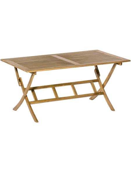 Klapptisch, BxHxL: 90 x 75 x 160 cm, Tischplatte: Akazienholz