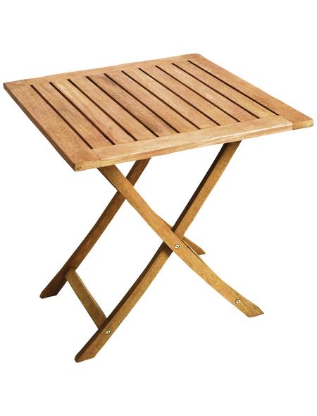 Klapptisch, mit Eukalyptusholz-Tischplatte, BxTxH: 70 x 70 x 74 cm