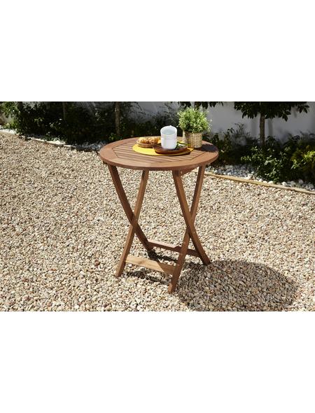 Klapptisch, mit Eukalyptusholz-Tischplatte, Ø x H: 65 x 75 cm