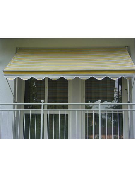 Klemmmarkise, BxT: 350x150 cm, grau/weiss/gelb gestreift