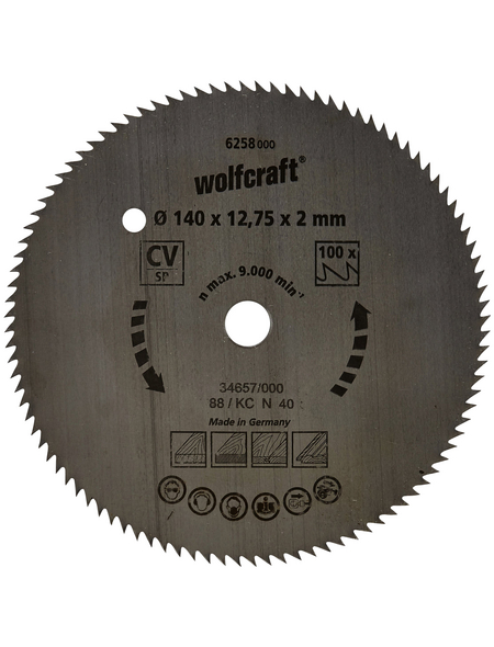 WOLFCRAFT Kreissägeblatt 12,75 mm Bohrdurchmesser