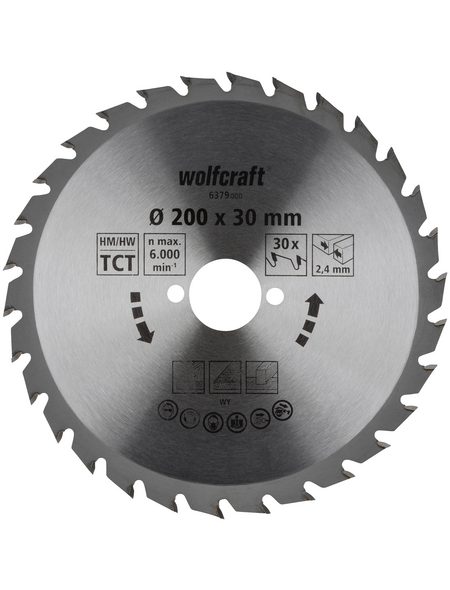 WOLFCRAFT Kreissägeblatt 30 mm Bohrdurchmesser