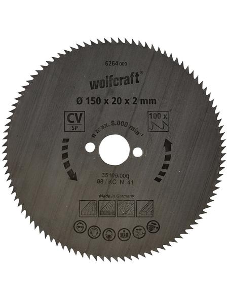 WOLFCRAFT Kreissägeblatt, Durchmesser, 150 mm, Bohrdurchmesser 20 mm, 100 Zähne