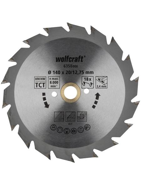 WOLFCRAFT Kreissägeblatt »Grün«, Durchmesser, 140 mm, Bohrdurchmesser 12.75 mm, 18 Zähne