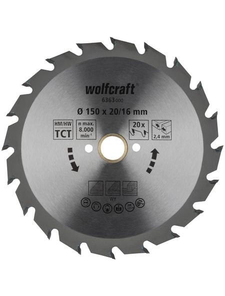 WOLFCRAFT Kreissägeblatt »Grün«, Ø 150 mm, 20 Zähne