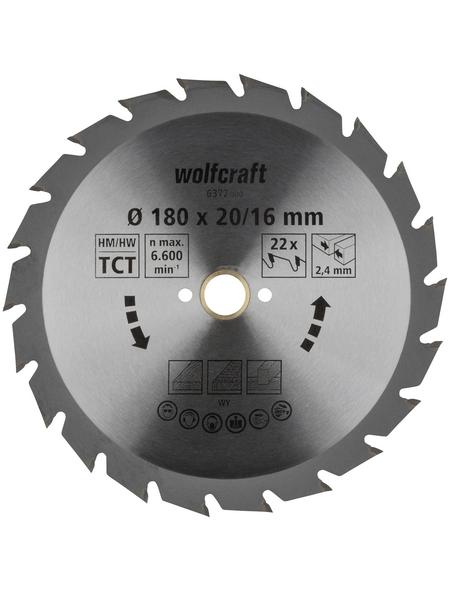 WOLFCRAFT Kreissägeblatt »Grün«, Ø 180 mm, 22 Zähne
