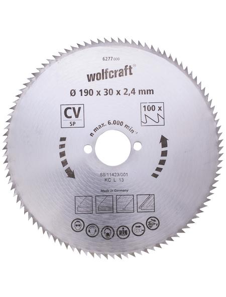 WOLFCRAFT Kreissägeblatt, Ø 190 mm, 100 Zähne