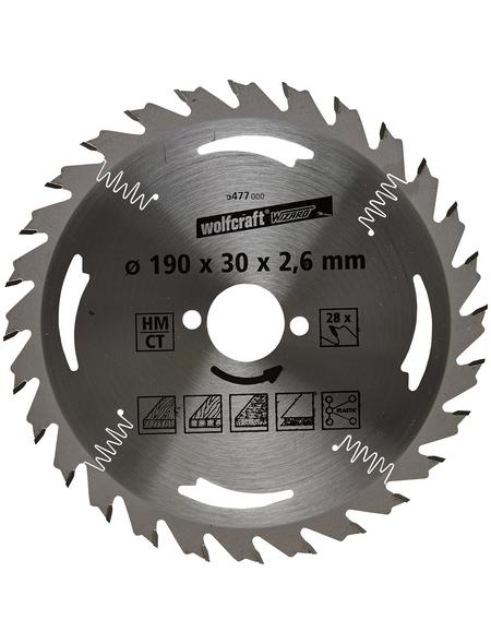 WOLFCRAFT Kreissägeblatt »Silber«, Ø 190 mm, 28 Zähne