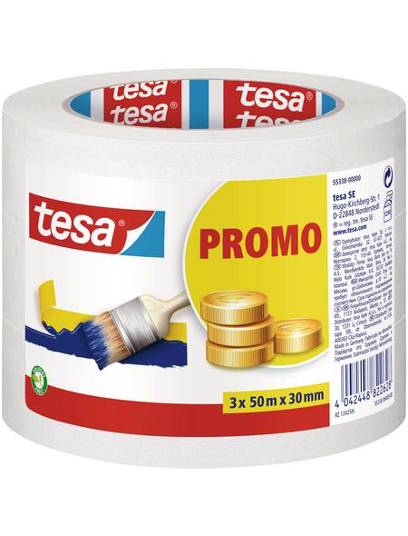 TESA Kreppband, PROMO, 50 m x 30 mm, 3 Stk., Transparent