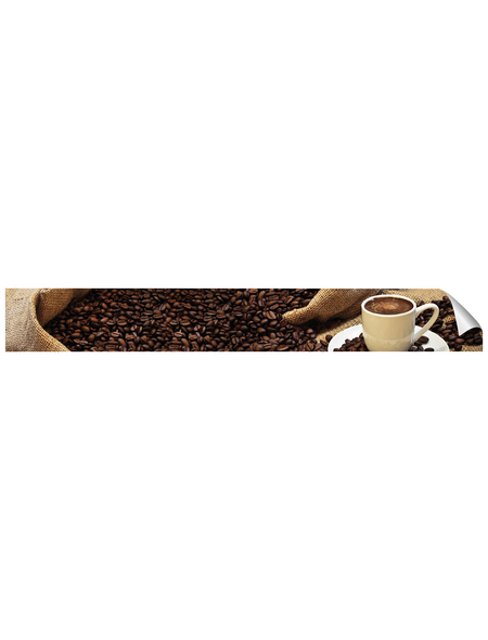 mySPOTTI Küchenrückwand-Panel, fixy, Kaffebohnen und Tasse, 450x60 cm
