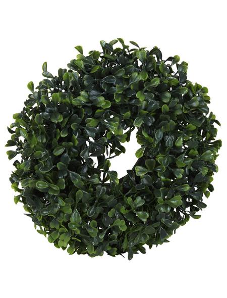 Flower-Power Kunstpflanze, Buchskranz, grün