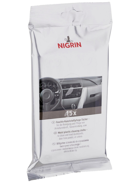 NIGRIN Kunststoffpflegetücher, Easy Clean, Weiß, 15 Stk.