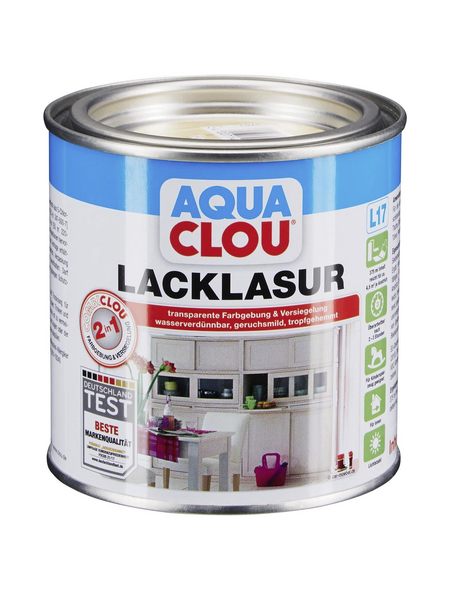 CLOU Lack-Lasur »AQUA«, für innen, 0,375 l, farblos, seidenmatt