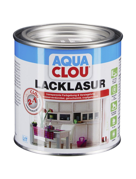 CLOU Lack-Lasur »AQUA«, für innen, 0,375 l, Steingrau, seidenmatt