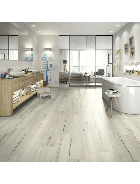 EGGER Laminat »Aqua+«, 8 Stk./1,99 m², 8 mm,  Creston Eiche weiß