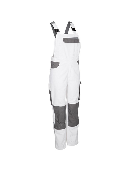 SAFETY AND MORE Latzhose EXTREME Polyester/Baumwolle weiß/grau Gr. L