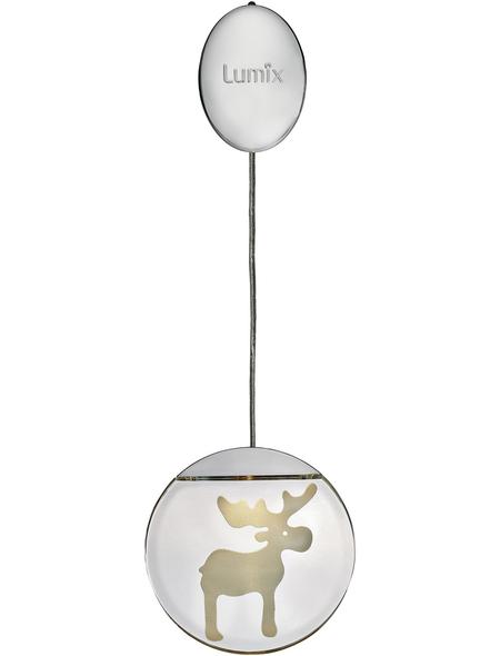 Krinner LED-Fensterbild »Lumix Deco Lights«, Elch, silberfarben, ø: 10 cm, Batteriebetrieb