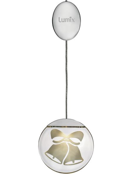 Krinner LED-Fensterbild »Lumix Deco Lights«, Glocken, silberfarben, ø: 10 cm, Batteriebetrieb