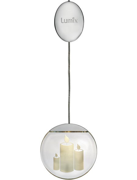 Krinner LED-Fensterbild »Lumix Deco Lights«, Kerzen, silberfarben, ø: 10 cm, Batteriebetrieb