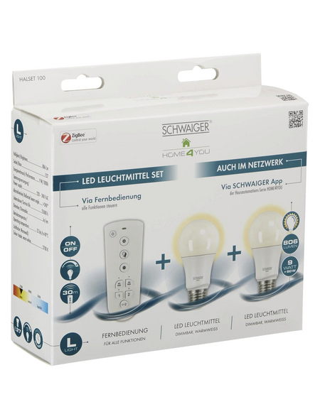 SCHWAIGER LED-Leuchtmittel »HOME4YOU«, 9 W, E27, 2700 K, 806 lm